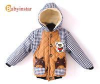 2014 Winter Warm Kids Parkas Baby Clothing:Plus Velvet Plaid Patterns Stitching Hoodded Jackets Boy Coat Cartoon Downs