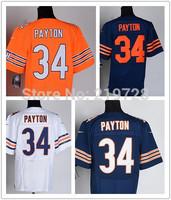 Free/Drop Shipping Chicago #34 Walter Payton Jersey,Elite Stitched Payton American Football Jersey, Color Navy Blue Orange White