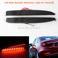 Black Smoked Lens LED Bumper Reflector Tail Brake Stop Light for 03-08 Mazda6 Atenza