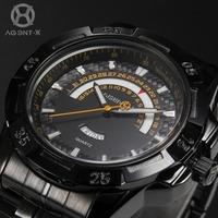 AGENTX Casual Watch Male Clock Black Full Steel Strap Relogio Calendar Display Analog Quartz  Business Men Dress Watch / AGX103