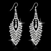 New Wedding Bridal Statement Earrings Drop Silver Gold Earrings SWA Element Austrian Crystal Earring Long Dangle Earings Jewelry