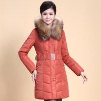 2014 Winter Thicken Warm Woman Down jacket Hooded Coat Parkas Outerweat Luxury Slim Raccoon Fur collar Plus Size 4XXXXL Mid Long