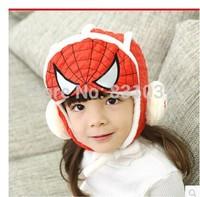 2014 Fashion Winter baby winter hats child hat Superman Spiderman CAP baby plus cashmere warm cap Free shipping