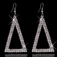 New Wedding Bridal Statement Drop Silver Gold Geometric Earrings SWA Element Austrian Crystal Earring Long Dangle Jewelry