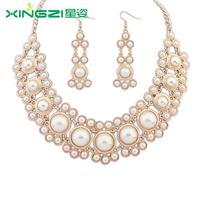 Fashion women's crystal alloy jewelry sets choker necklace earrings pearl necklace charm earrings for women wedding jewelry