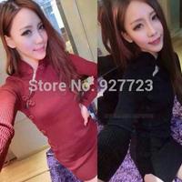 2014 autumn and winter long-sleeve knitted cheongsam placketing sexy fashion elegant slim hip slim one-piece dress female