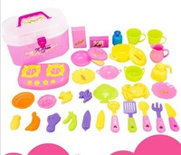 Free Shipping~1 set Children play toys suit simulation play kitchen tableware tableware box toys for children
