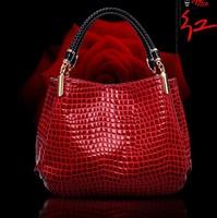 Genuine Leather Women's Handbag Fashion Japanned Leather for Handbag Crocodile Women's One Shoulder Big Bag Free Shipping