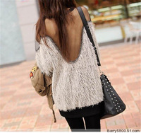 2014 New Fashion  Free shipping Pure Color Knitting Loose Hot Sale Sexy Yarn Splicing Backless Knitted Sweater