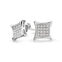 European Style Fashion Men Neutral AAA Micro Small Earrings Inlaid Zircon Square Design Factory Direct  4 Colors Choose