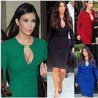 European Style Cheap Autumn Dress 2015 Fashion Women LongSleeve Sexy Royal Blue Evening Dress Party Casual Women Plus Size Dress