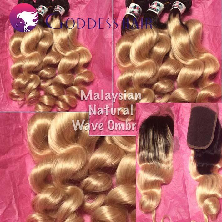 Malaysian natural wave ombre human hair extensions with lace closures blenched knots 1pcs closures(150%) 3pcs bundles weaves(China (Mainland))