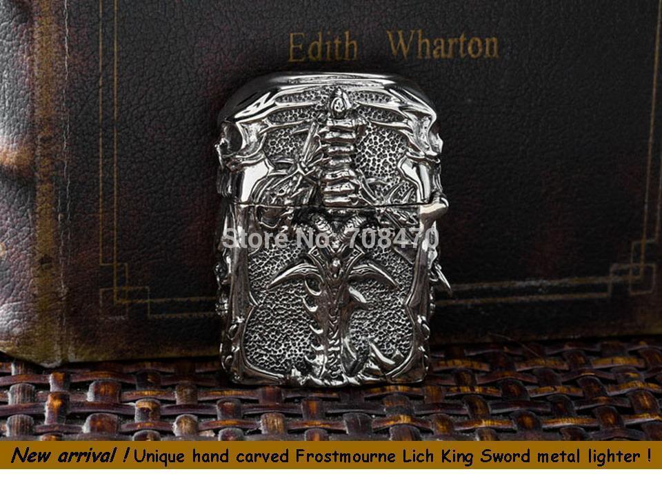 2014 hot sale metal lighter luxury unique hand carved Frostmourne Lich King Sword lighter white color copper lighter(China (Mainland))
