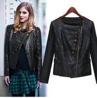 2014 women's long-sleeve slim o-neck short design PU motorcycle clothing