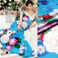 Blue Rosebush Digital Print Stretch Silk(93%) Satin Fabric  120CM*100CM   19Mommie