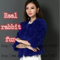 EMS Free Shipping New 2015 Rex Rabbit Fur Coat Natural Real Fur Coats For Women Overcoat Winter Jacket Women outwear coat