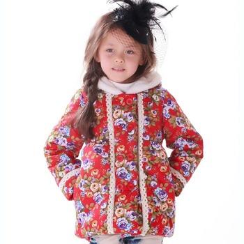Hiheart 2014 девушка зимние куртки цветок принцесса детская одежда капюшоном с бантом кружева девушки пальто толстые хлопка мягкой новый год одежда красный