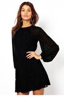 vestidos de festa vestido longo Black Lace Vintage Dress with Blouson Sleeves LC21039 vestidos de celebridades