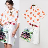 High Quality New Design Fashion 2015 Spring Summer  Women Print Blouse Shirts+Digital Print Skirt(1Set) Casual Ladies Suit 2PCS