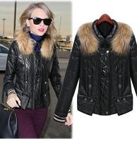2014 women's long-sleeve slim short design fur collar PU thermal cotton-padded clothes