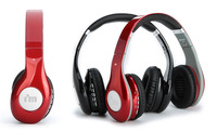 Wireless Bluetooth Headband Headphone With Microphone Micro SD Card Player FM Radio Aux 3.5mm Line In Dre Red