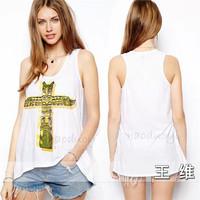 Free Shipping 2014 New Summer Women Street Sexy T Shirt Cross Round Neck T-shirt Loose Cotton Vest Tank Tops