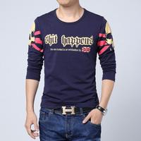 Free Shipping mens t shirts New 2014 fashion long-sleeved T-shirt men High Quality Cotton Men t shirt camisetas M~5XL 5 COLORS