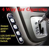 DC 12V 24V 4 Way Car Cigarette Lighter Socket Splitter Charger Adapter + USB Port + LED Light Switch for Cellphone Tablet GPS