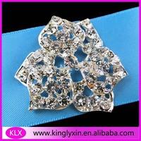 Free Shipping ! 12pcs/lot six leaf layer rhinestone brooch buckle for wedding favor
