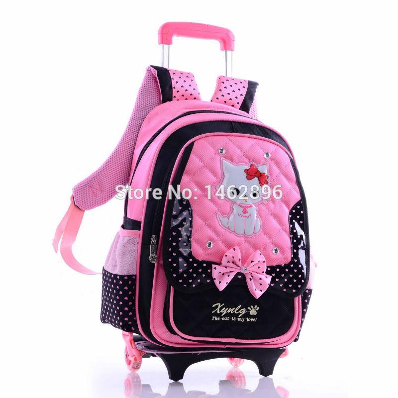 Hello kitty bookbag багаж / мальчик девочка школа рюкзак на колёсиках / студент печать колесо путешествие багаж