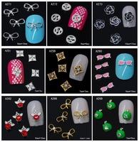 100Pcs/Lot Fashion 3D Metal Nail Art Decoration / Cellphone Rhinestone Glitters Decoration, 14 Styles For Choose + Free Shipping