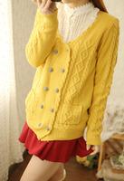 2014  0010   autumn women's vintage plaid buckle twisted V-neck cardigan female slim outerwear