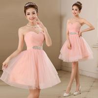 2015 Women Strapless Diamoned adorn waist short design Pink bridesmaid dress princess tube top party Prom dresses