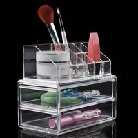 Free shipping acrylic cosmetic organizer lipstick holder crystal brush organizer makeup crystal organizer cosmetic display box