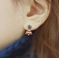 New Cute Rhinestone Christmas tree Earrings Star Earrings geometric Earrings For Women
