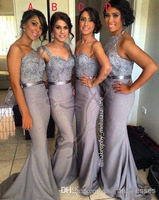 Bridesmaid Dresses 2015 Satin Sheath Appliqued Beading Silver Sash Four Style Mixed Formal Dresses For Women Bridesmaids Gown