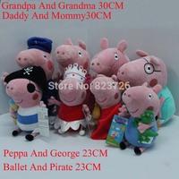 Peppa Pig Doll Family Set 23CM Ballet Peppa pirate George 30CM Daddy Mummy Grandma Grandpa Pig Stuffed Plush Doll Toys 8pcs/Lot