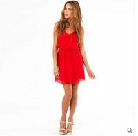 New women's solid color chiffon harness dress