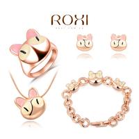 ROXI Brands fashion girls cats jewelry sets, Austrian crystal,Nickeless jewelry set,wholesale,Girls Valentine's/Christmas gifts