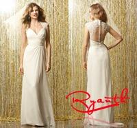 RBW096 Vestido de Noiva Elegant Sheath V-Neck Cap Sleeve Chiffon Wedding Dresses 2015 Hot Sale Dress Bride Wedding Dress Vintage