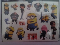 Despicable Me 2, minions cartoon temporary tattoo stickers funny sticker, kids toy, minion style, colorful tatoo,15.5*10.9cm