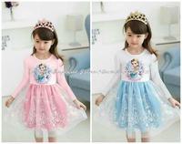 2014 Autumn Winter girls dress lovely Princess Dress  frozen elsa anna children girls long sleeve snow queen cosplay costume