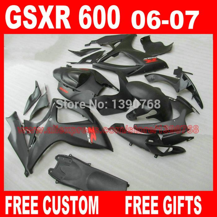 Motorcycle Fairing kit for SUZUKI K6 2006 2007 GSX-R600 GSX-R750 all matte black fairings set GSXR 600 750 06 07 CB36(China (Mainland))