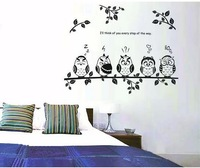 Owl&branches cartoon theme  Wall sticker for family decorations PVC&Transferable