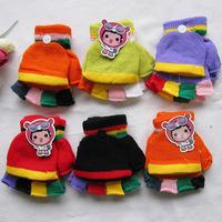 (1-4 years old) Autumn Winter warm kids children gloves, Colorful strips half finger gloves children Winter mittens Glove