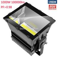 high power 1000w led high bay light squre plaza stadium lamp MEANWELL driver CREE chip waterproof IP65 3years warranty UL SAA CE