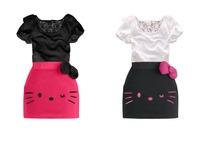 Hello Kitty children's dress girl fashion cartoon lace bowknot cute dress girl casual dress free shipping