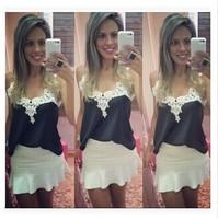 Women Blouses 2015 New Plus Size White Lace Stitching V-neck Sleeveless Chiffon Shirt