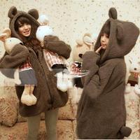 Women Fall Winter Lovely Bear ears Fleeces hoodies tail Feather Open Zipper Long Sleeve Coat  autumn -summer new 2013 7692