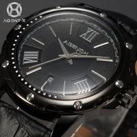 AGENTX Auto Date Display Relogio Masculino Black Dial Analog Leather Strap Male Business Clock Men Quartz Casual Watch / AGX114